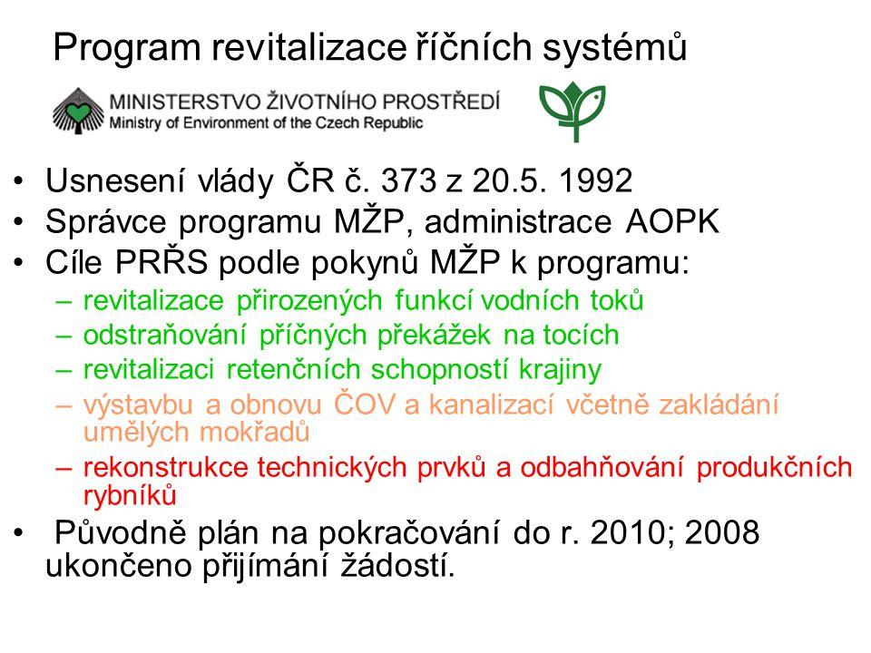 Program revitalizace říčních systémů Usnesení vlády ČR č.