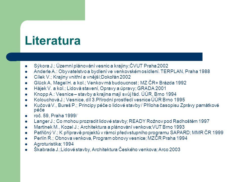 Literatura Sýkora J.; Územní plánování vesnic a krajiny;ČVUT Praha 2002 Anderle A.: Obyvatelstvo a bydlení ve venkovském osídlení. TERPLAN, Praha 1988