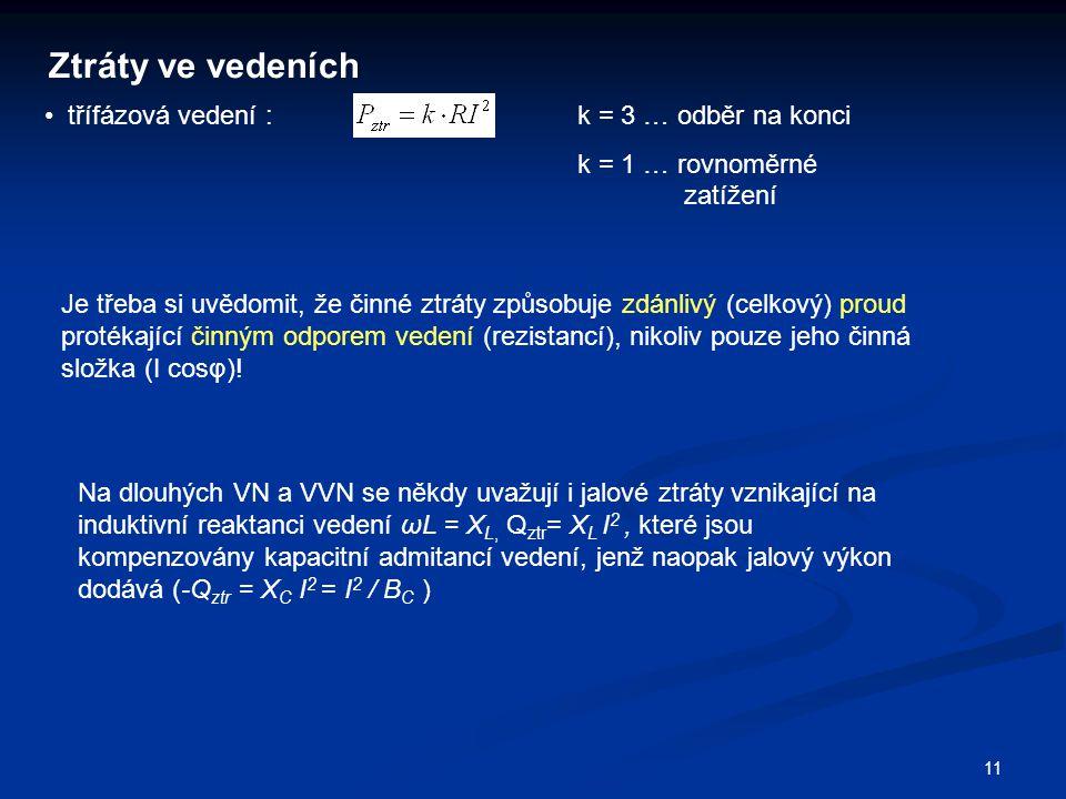 11 Ztráty ve vedeních třífázová vedení : k = 3 … odběr na konci k = 1 … rovnoměrné zatížení Je třeba si uvědomit, že činné ztráty způsobuje zdánlivý (celkový) proud protékající činným odporem vedení (rezistancí), nikoliv pouze jeho činná složka (I cosφ).