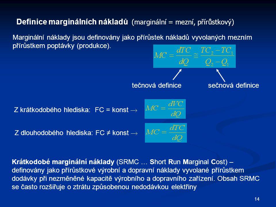 14 Definice marginálních nákladů (marginální = mezní, přírůstkový) Marginální náklady jsou definovány jako přírůstek nákladů vyvolaných mezním přírůstkem poptávky (produkce).