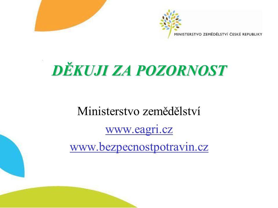 DĚKUJI ZA POZORNOST Ministerstvo zemědělství www.eagri.cz www.bezpecnostpotravin.cz