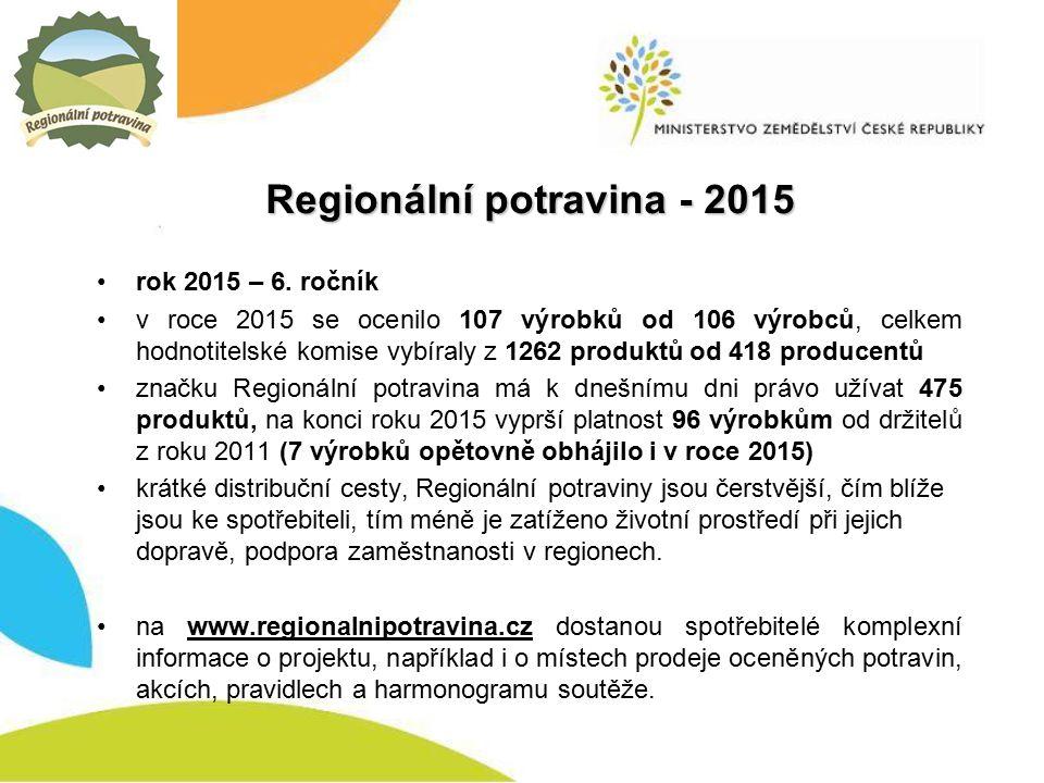 Regionální potravina - 2015 rok 2015 – 6.