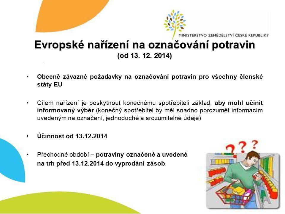 Evropské nařízení na označování potravin (od 13.12.
