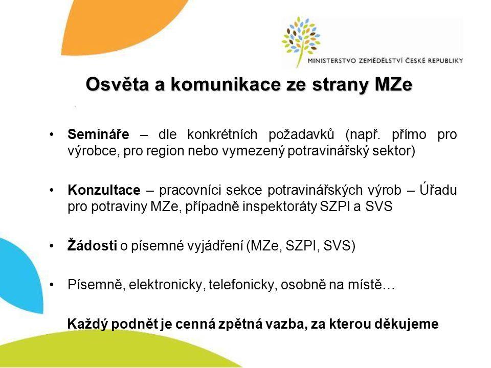 Osvěta a komunikace ze strany MZe Semináře – dle konkrétních požadavků (např.