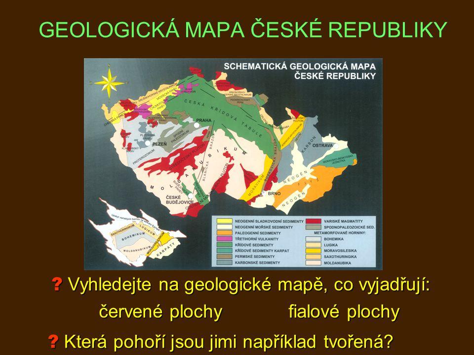 Vyhledejte na geologické mapě, co vyjadřují: červené plochyfialové plochy .