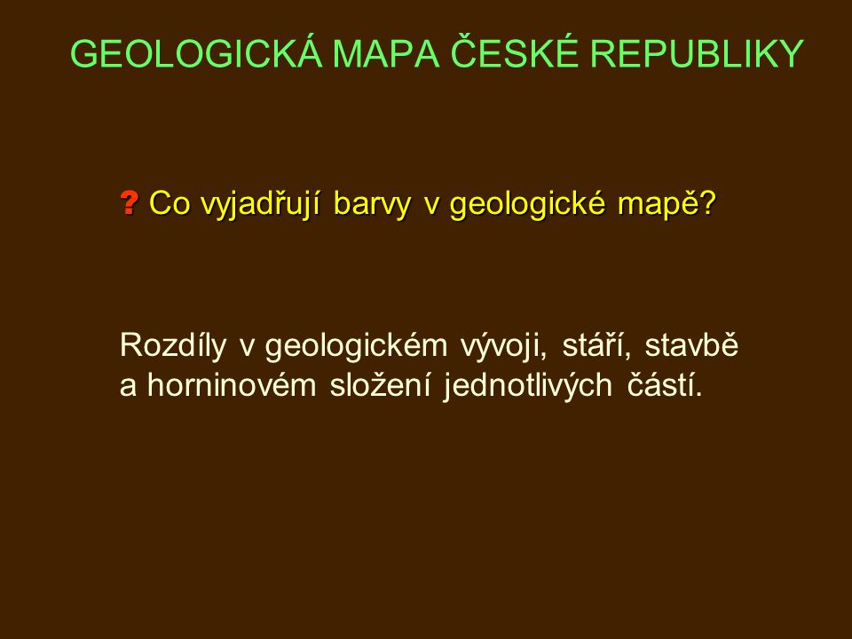 Co vyjadřují barvy v geologické mapě.