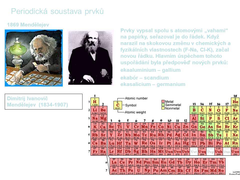 """Periodická soustava prvků 1869 Mendělejev Dimitrij Ivanovič Mendělejev (1834-1907) Prvky vypsal spolu s atomovými """"vahami na papírky, seřazoval je do řádek."""