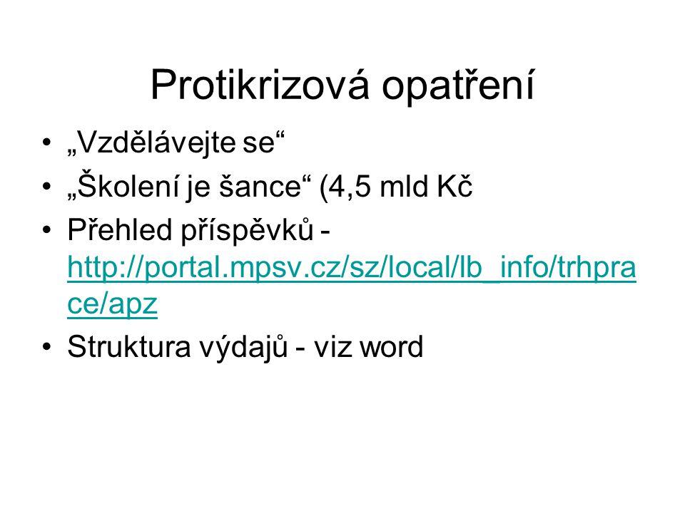 """Protikrizová opatření """"Vzdělávejte se"""" """"Školení je šance"""" (4,5 mld Kč Přehled příspěvků - http://portal.mpsv.cz/sz/local/lb_info/trhpra ce/apz http://"""