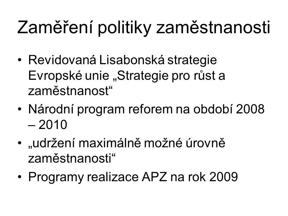 """Hlaví směry politik zaměstnanosti členských států (2008/618/ES) """"Přilákání většího množství lidí do zaměstnání a udržení těchto lidí v zaměstnání, zvýšení nabídky práce a modernizace systémů sociální ochrany Zvýšení přizpůsobivosti pracovníků a podniků Zvýšení investic do lidského kapitálu prostřednictvím lepšího vzdělání a zlepšování dovedností"""