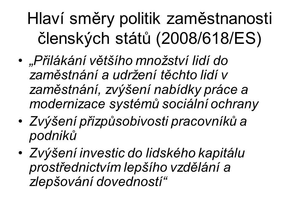 """Hlaví směry politik zaměstnanosti členských států (2008/618/ES) """"Přilákání většího množství lidí do zaměstnání a udržení těchto lidí v zaměstnání, zvý"""