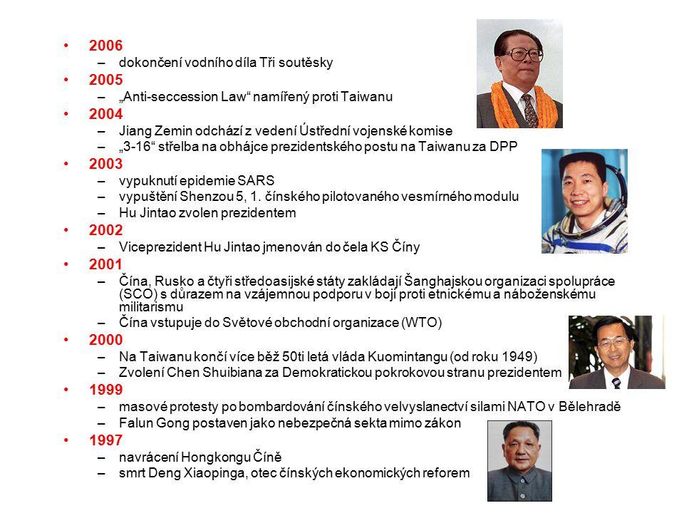 """2006 –dokončení vodního díla Tři soutěsky 2005 –""""Anti-seccession Law namířený proti Taiwanu 2004 –Jiang Zemin odchází z vedení Ústřední vojenské komise –""""3-16 střelba na obhájce prezidentského postu na Taiwanu za DPP 2003 –vypuknutí epidemie SARS –vypuštění Shenzou 5, 1."""