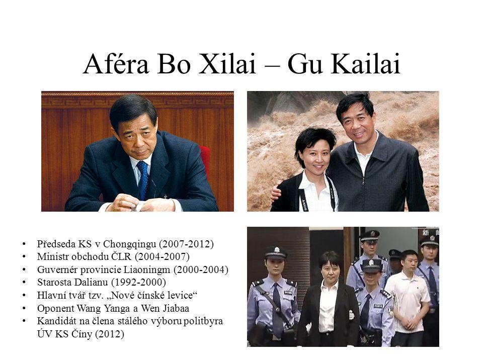 Aféra Bo Xilai – Gu Kailai Předseda KS v Chongqingu (2007-2012) Ministr obchodu ČLR (2004-2007) Guvernér provincie Liaoningm (2000-2004) Starosta Dalianu (1992-2000) Hlavní tvář tzv.