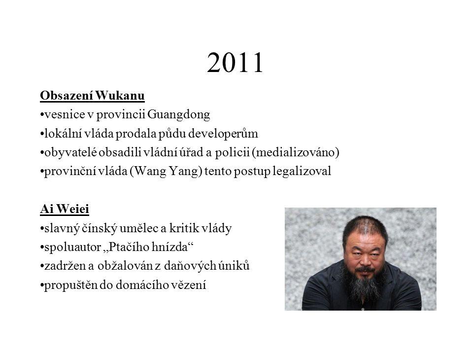2010 Liou Xiaobo prominentní čínský disident klíčová postava protestů v roce 1989 držitel Nobelovi ceny za mír 2010 4x vězněn, naposledy 2009-2020 hlavní spoluautor Charty 08
