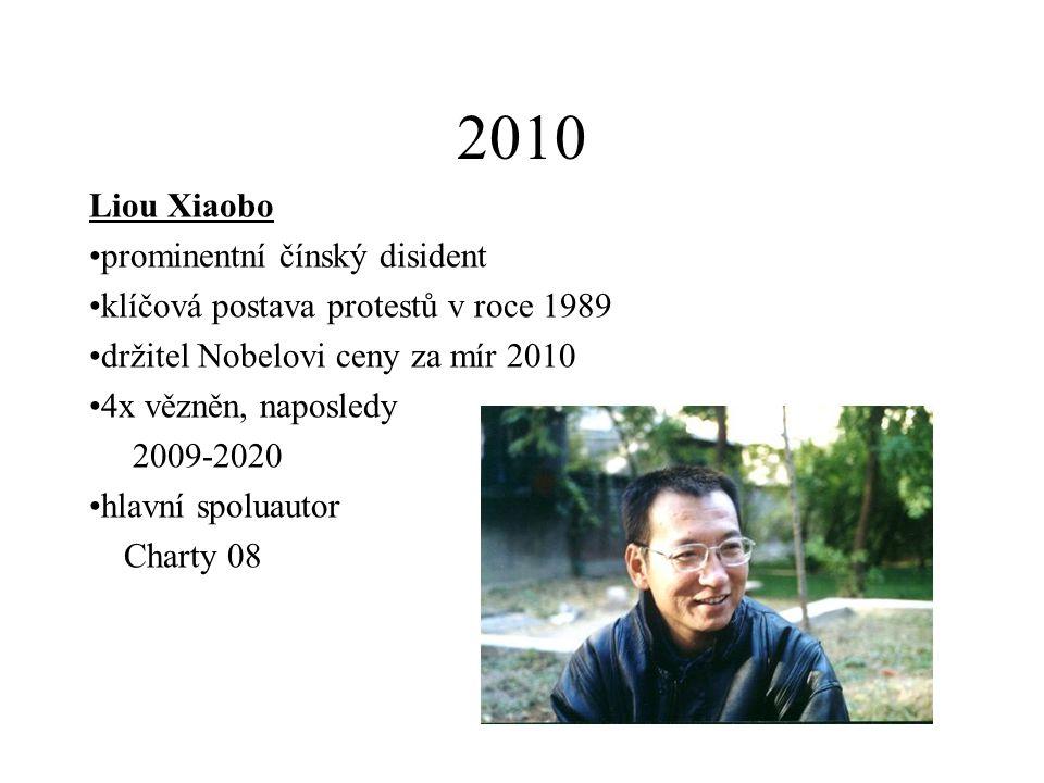 2010 Liou Xiaobo prominentní čínský disident klíčová postava protestů v roce 1989 držitel Nobelovi ceny za mír 2010 4x vězněn, naposledy 2009-2020 hla