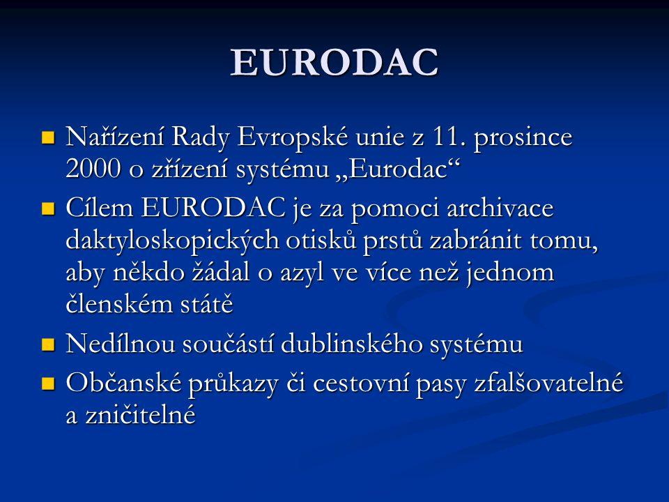 """Fungování EURODAC Sídlem Centra pro porovnávání otisků prstů se stal Lucemburk Snímání otisků prstů jsou podrobeny tři skupiny migrantů - žadatelé o azyl, cizinci přistižení při nelegálním pokusu o přechod vnější hranici Unie a cizinci zadržení při nelegálním pobytu na území Unie Otázka slučitelnosti s Evropskou úmluvou o lidských právech – povinné snímání otisků prstů jako zásah do práva na soukromý život -zda otisky jsou snímány """"v souladu s právem a jsou """"potřebné pro demokratickou společnost"""
