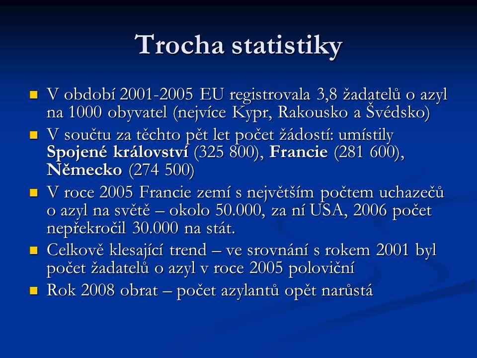 ČR a azyl Nárůst od roku 1997 do 2001 (18.000 žadatelů) Nárůst od roku 1997 do 2001 (18.000 žadatelů) Od té doby sestupný trend, v roce 2005 již pouze 4.000 Od té doby sestupný trend, v roce 2005 již pouze 4.000 Podle zemí – Ukrajina (29%), Rusko (27%), Vietnam (6%), Čína, Bělorusko Podle zemí – Ukrajina (29%), Rusko (27%), Vietnam (6%), Čína, Bělorusko