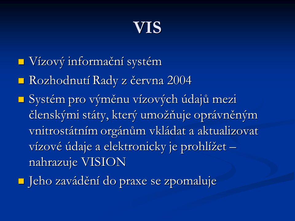 VIS Vízový informační systém Vízový informační systém Rozhodnutí Rady z června 2004 Rozhodnutí Rady z června 2004 Systém pro výměnu vízových údajů mez