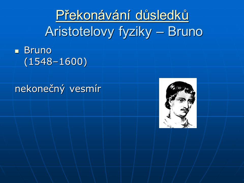 Překonávání důsledků Překonávání důsledků Aristotelovy fyziky – Bruno Překonávání důsledků Bruno (1548–1600) Bruno (1548–1600) nekonečný vesmír