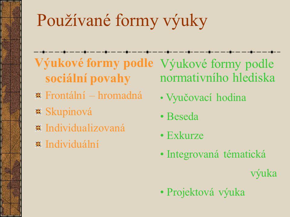 Používané formy výuky Výukové formy podle sociální povahy Frontální – hromadná Skupinová Individualizovaná Individuální Výukové formy podle normativní