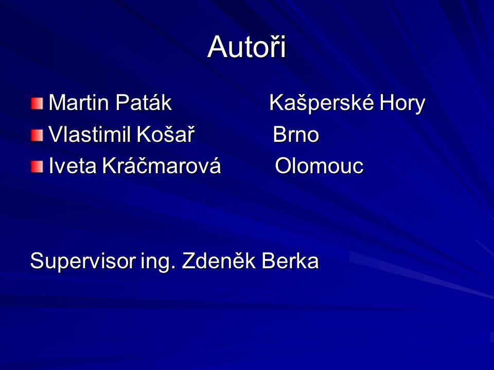 Autoři Martin Paták Kašperské Hory Vlastimil Košař Brno Iveta Kráčmarová Olomouc Supervisor ing. Zdeněk Berka