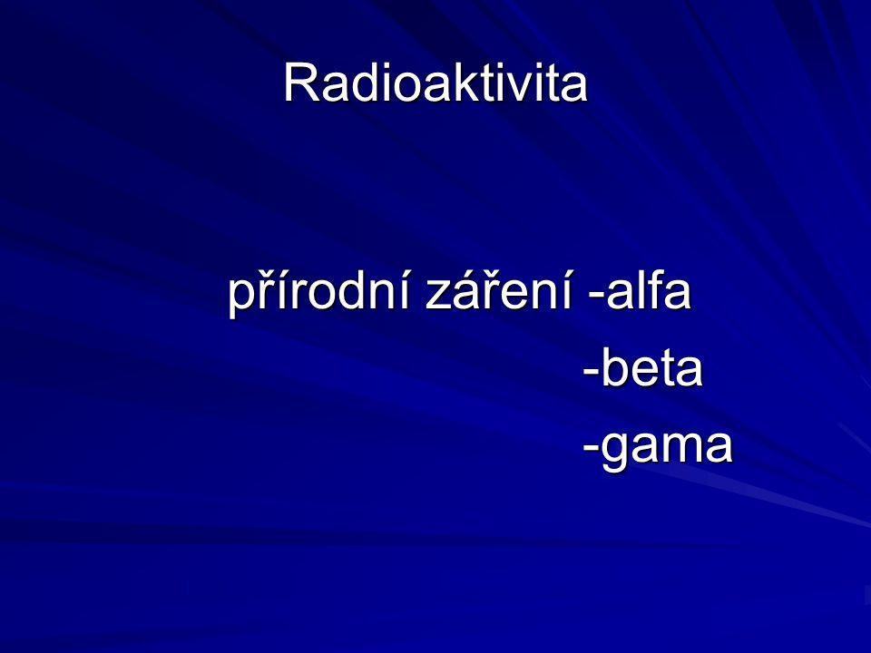 Radioaktivita přírodní záření -alfa -beta -beta -gama -gama