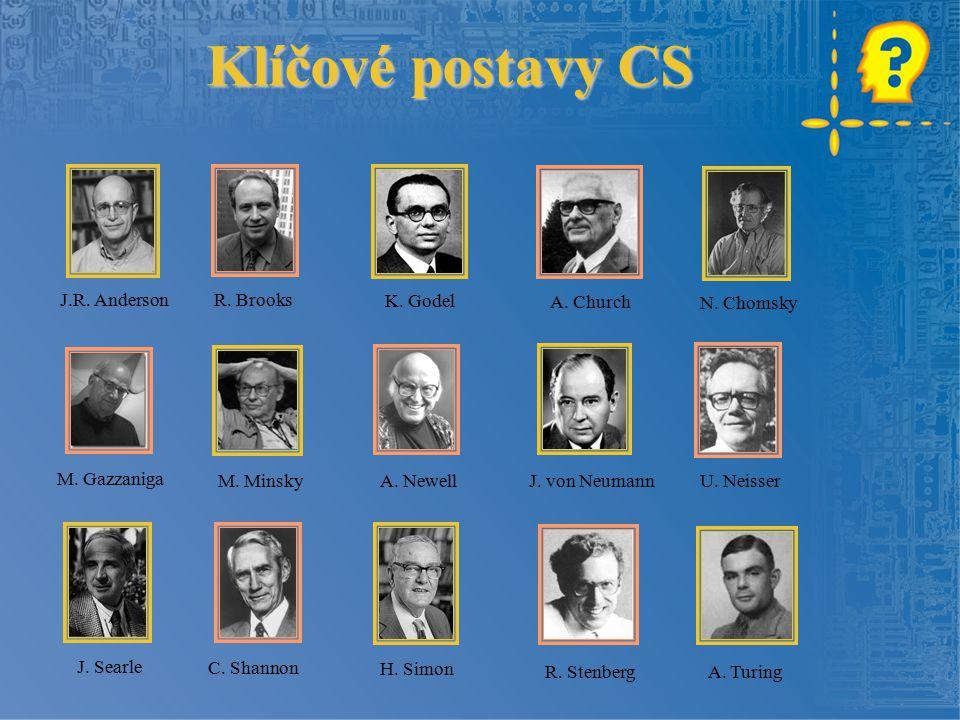 Klíčové postavy CS J.R. Anderson R. Brooks K. Godel N. Chomsky A. Church M. Gazzaniga M. Minsky A. Newell U. NeisserJ. von Neumann J. Searle C. Shanno