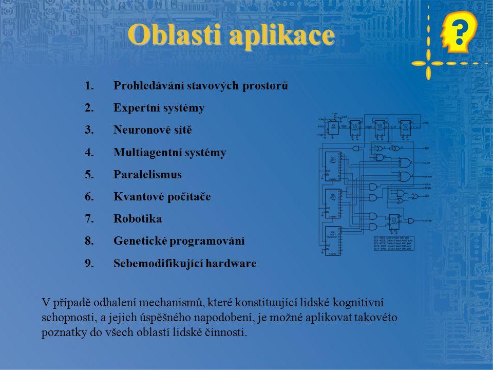 Oblasti aplikace 1.Prohledávání stavových prostorů 2.Expertní systémy 3.Neuronové sítě 4.Multiagentní systémy 5.Paralelismus 6.Kvantové počítače 7.Rob