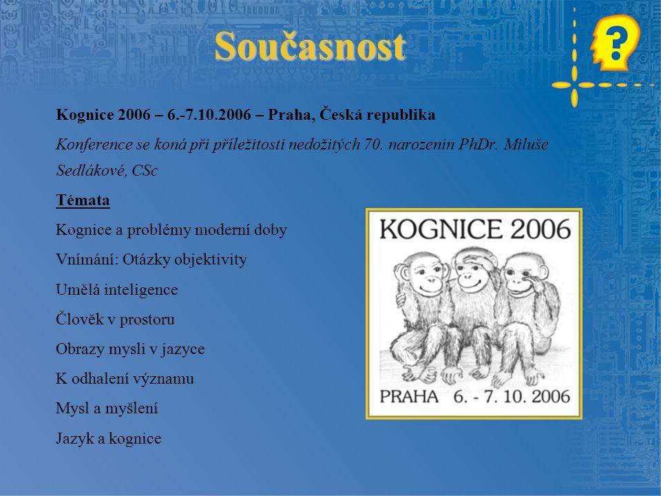 Současnost Kognice 2006 – 6.-7.10.2006 – Praha, Česká republika Konference se koná při příležitosti nedožitých 70. narozenin PhDr. Miluše Sedlákové, C