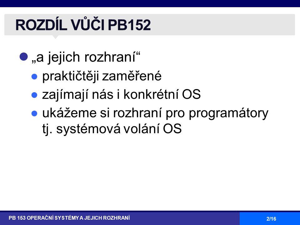 """2/16 """"a jejich rozhraní"""" ●praktičtěji zaměřené ●zajímají nás i konkrétní OS ●ukážeme si rozhraní pro programátory tj. systémová volání OS PB 153 OPERA"""