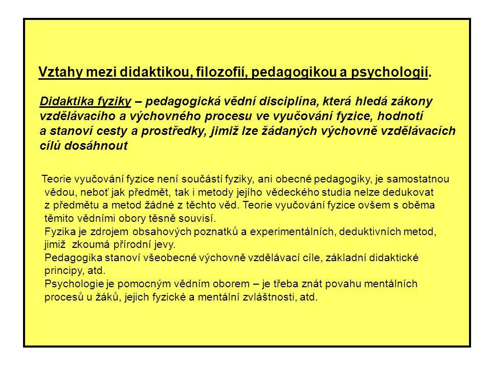 Vztahy mezi didaktikou, filozofií, pedagogikou a psychologií. Didaktika fyziky – pedagogická vědní disciplína, která hledá zákony vzdělávacího a výcho