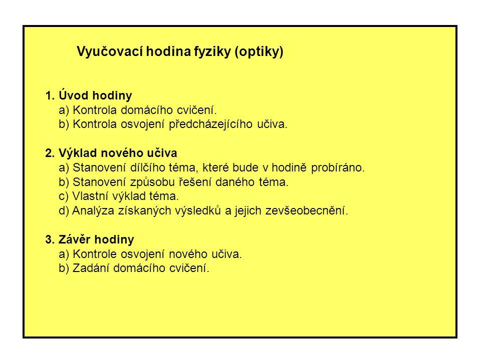Vyučovací hodina fyziky (optiky) 1. Úvod hodiny a) Kontrola domácího cvičení. b) Kontrola osvojení předcházejícího učiva. 2. Výklad nového učiva a) St
