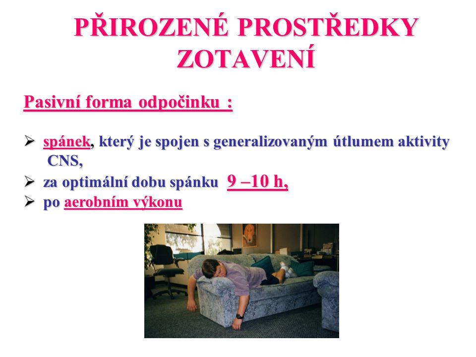 PŘIROZENÉ PROSTŘEDKY ZOTAVENÍ Pasivní forma odpočinku :  spánek, který je spojen s generalizovaným útlumem aktivity CNS, CNS,  za optimální dobu spá