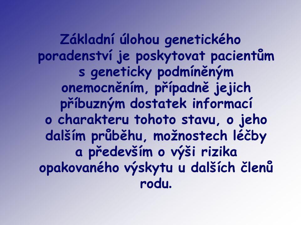 Základní úlohou genetického poradenství je poskytovat pacientům s geneticky podmíněným onemocněním, případně jejich příbuzným dostatek informací o cha