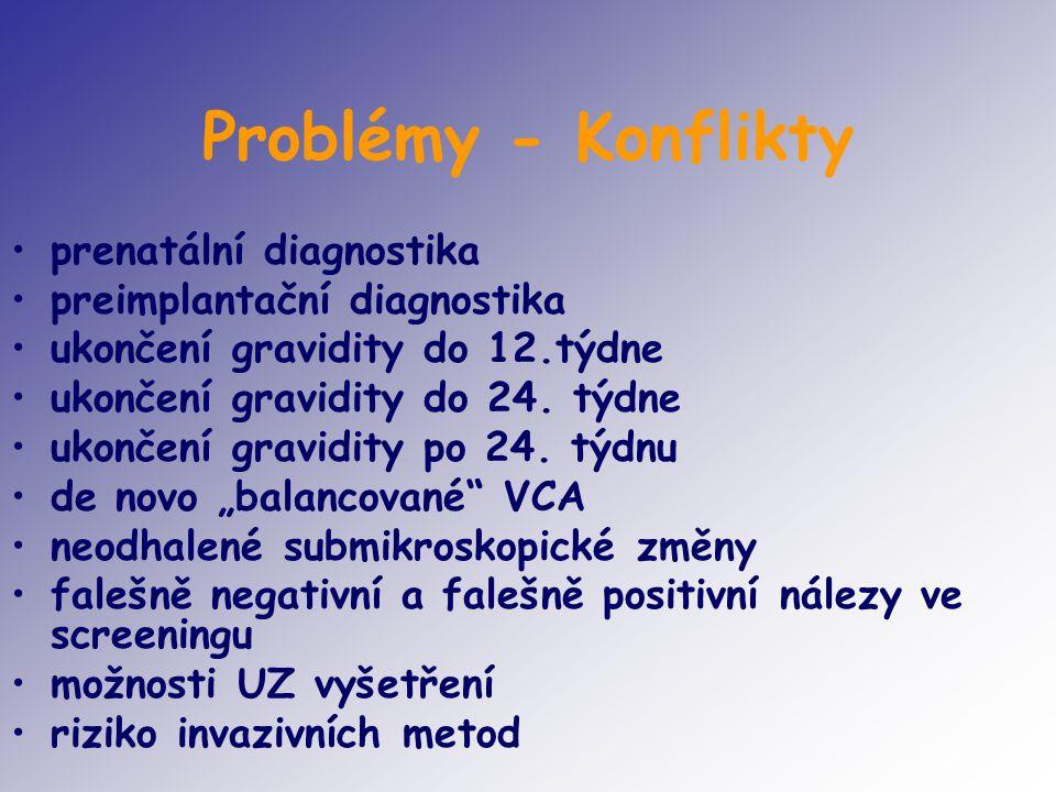 Problémy - Konflikty prenatální diagnostika preimplantační diagnostika ukončení gravidity do 12.týdne ukončení gravidity do 24. týdne ukončení gravidi
