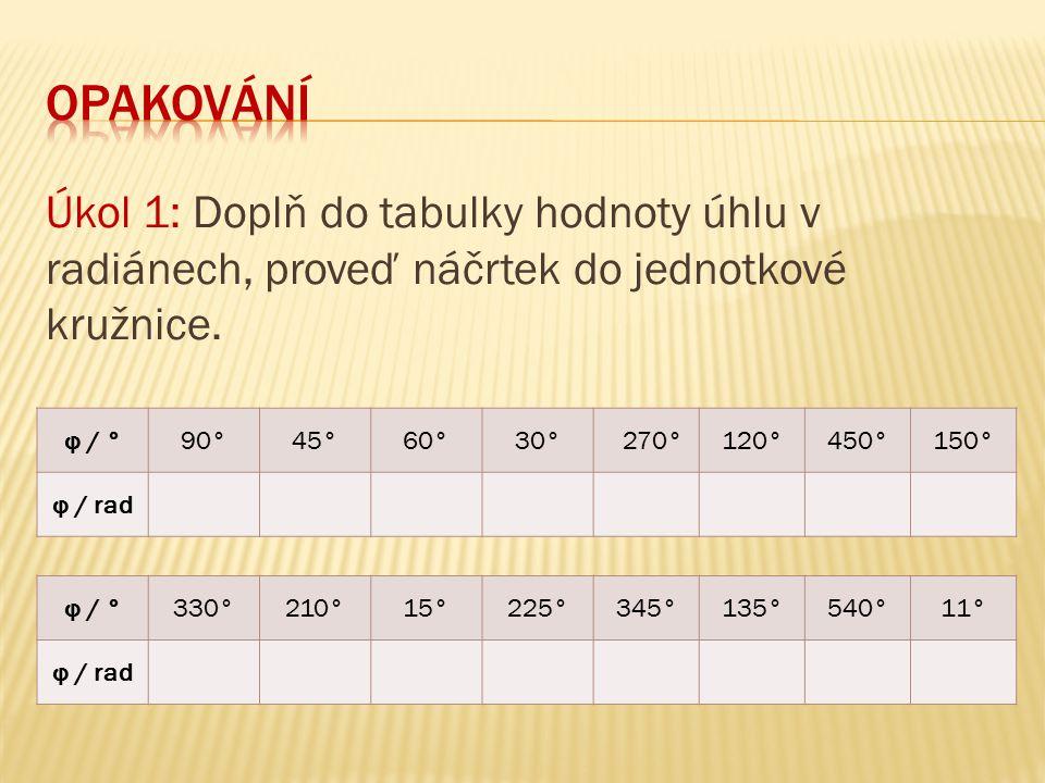 Úkol 1: Doplň do tabulky hodnoty úhlu v radiánech, proveď náčrtek do jednotkové kružnice. φ / °90°45°60°30° 270°120°450°150° φ / rad φ / °330°210°15°2