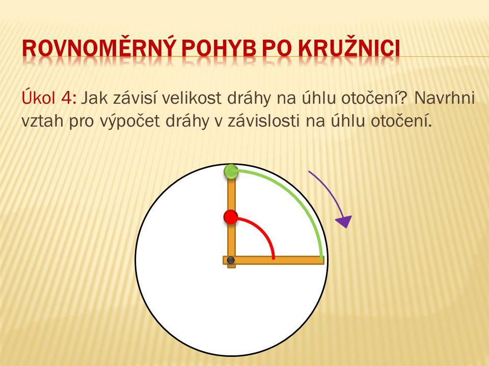 Úkol 4: Jak závisí velikost dráhy na úhlu otočení? Navrhni vztah pro výpočet dráhy v závislosti na úhlu otočení.