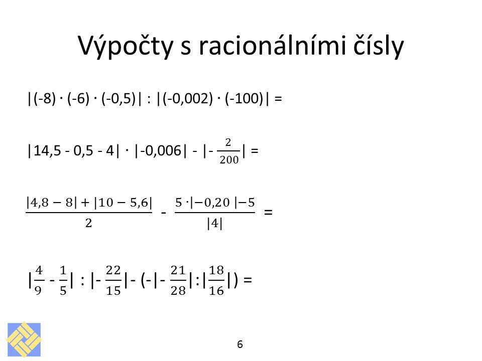 Výpočty s racionálními čísly 6