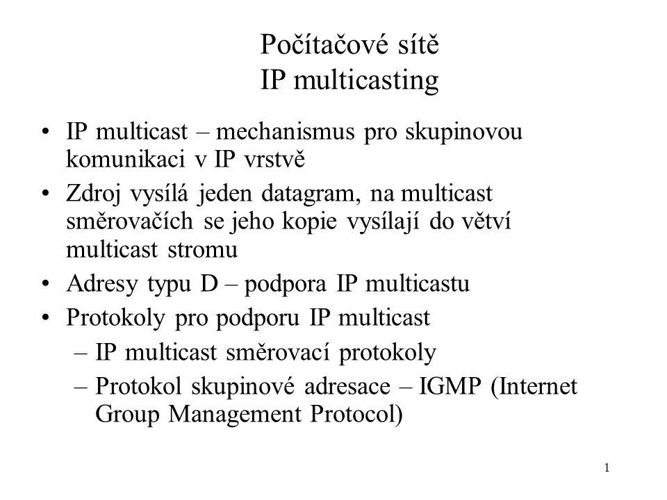 1 Počítačové sítě IP multicasting IP multicast – mechanismus pro skupinovou komunikaci v IP vrstvě Zdroj vysílá jeden datagram, na multicast směrovačí