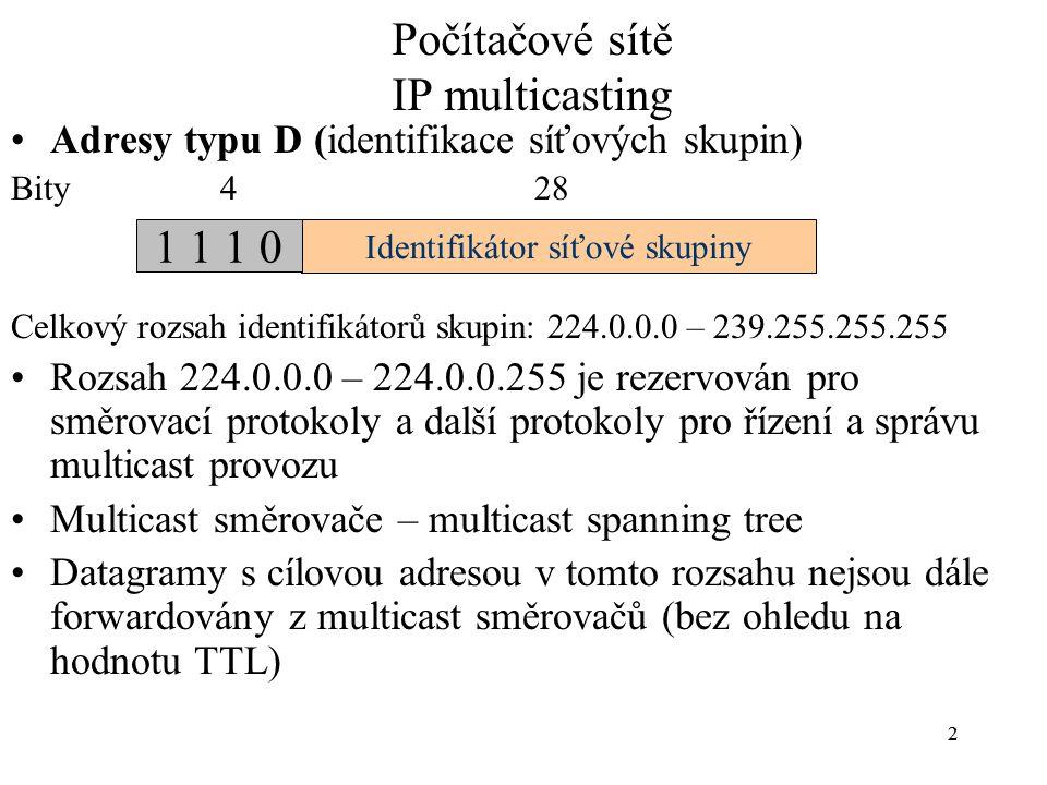 22 Počítačové sítě IP multicasting Adresy typu D (identifikace síťových skupin) Bity 4 28 Celkový rozsah identifikátorů skupin: 224.0.0.0 – 239.255.25