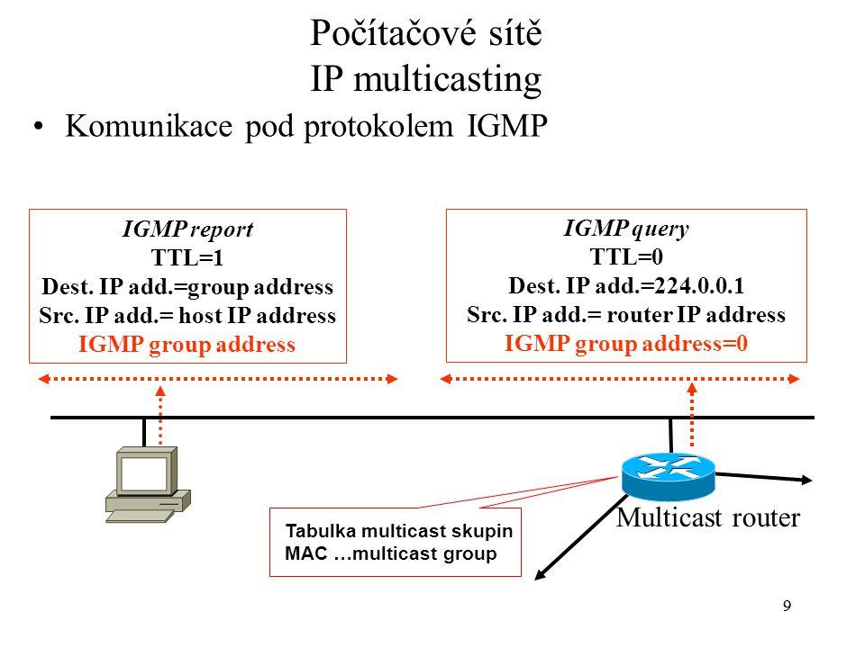 99 Počítačové sítě IP multicasting Komunikace pod protokolem IGMP Multicast router IGMP report TTL=1 Dest. IP add.=group address Src. IP add.= host IP
