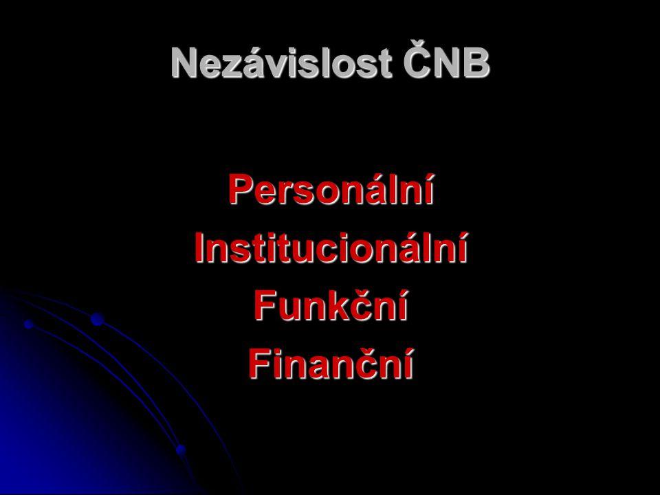Nezávislost ČNB PersonálníInstitucionálníFunkčníFinanční