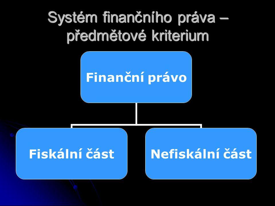 Systém finančního práva – předmětové kriterium Finanční právo Fiskální část Nefiskální část