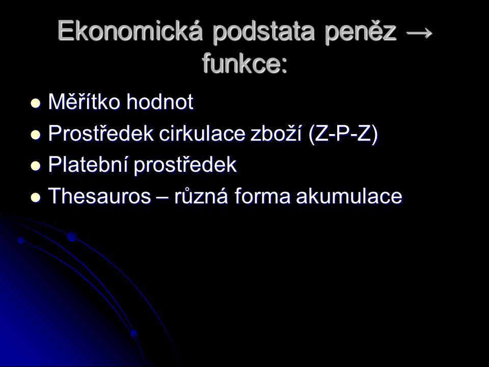 Ekonomická podstata peněz → funkce: Měřítko hodnot Měřítko hodnot Prostředek cirkulace zboží (Z-P-Z) Prostředek cirkulace zboží (Z-P-Z) Platební prostředek Platební prostředek Thesauros – různá forma akumulace Thesauros – různá forma akumulace