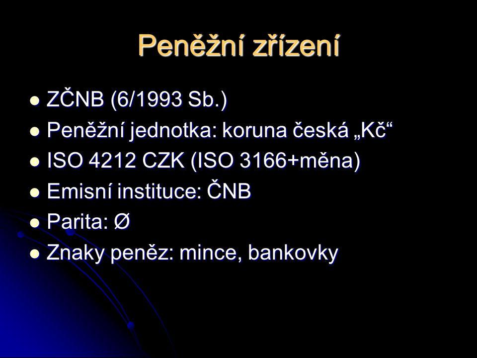 """Peněžní zřízení ZČNB (6/1993 Sb.) ZČNB (6/1993 Sb.) Peněžní jednotka: koruna česká """"Kč Peněžní jednotka: koruna česká """"Kč ISO 4212 CZK (ISO 3166+měna) ISO 4212 CZK (ISO 3166+měna) Emisní instituce: ČNB Emisní instituce: ČNB Parita: Ø Parita: Ø Znaky peněz: mince, bankovky Znaky peněz: mince, bankovky"""