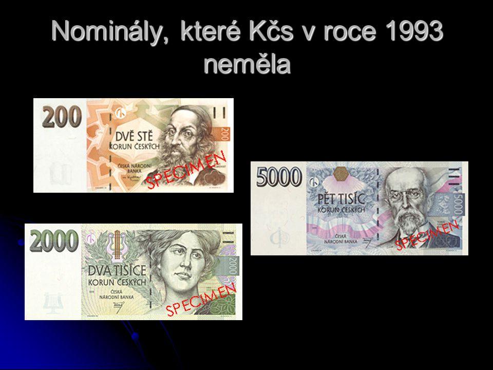 Nominály, které Kčs v roce 1993 neměla