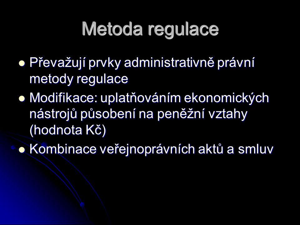 Metoda regulace Převažují prvky administrativně právní metody regulace Převažují prvky administrativně právní metody regulace Modifikace: uplatňováním ekonomických nástrojů působení na peněžní vztahy (hodnota Kč) Modifikace: uplatňováním ekonomických nástrojů působení na peněžní vztahy (hodnota Kč) Kombinace veřejnoprávních aktů a smluv Kombinace veřejnoprávních aktů a smluv