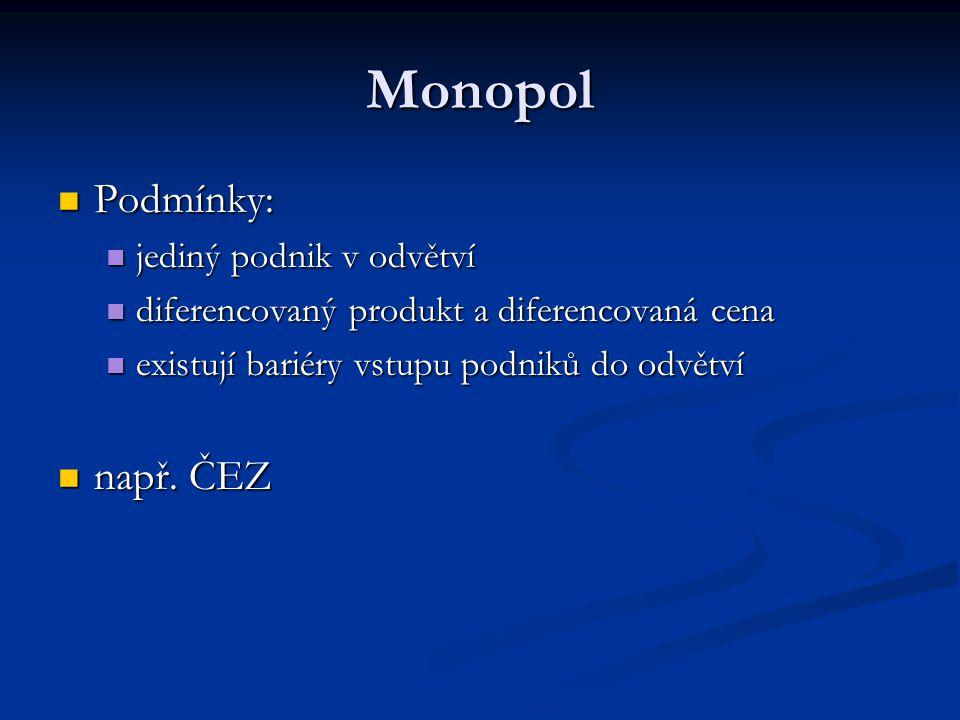 Monopol Podmínky: Podmínky: jediný podnik v odvětví jediný podnik v odvětví diferencovaný produkt a diferencovaná cena diferencovaný produkt a diferen