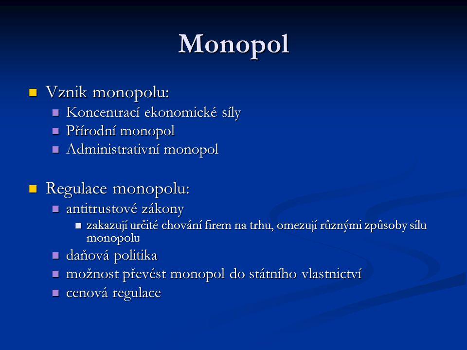 Monopol Vznik monopolu: Vznik monopolu: Koncentrací ekonomické síly Koncentrací ekonomické síly Přírodní monopol Přírodní monopol Administrativní mono