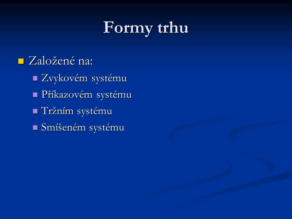 Formy trhu Založené na: Založené na: Zvykovém systému Zvykovém systému Příkazovém systému Příkazovém systému Tržním systému Tržním systému Smíšeném sy