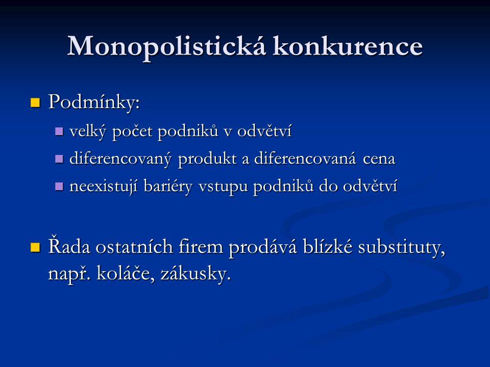 Monopolistická konkurence Podmínky: Podmínky: velký počet podniků v odvětví velký počet podniků v odvětví diferencovaný produkt a diferencovaná cena d